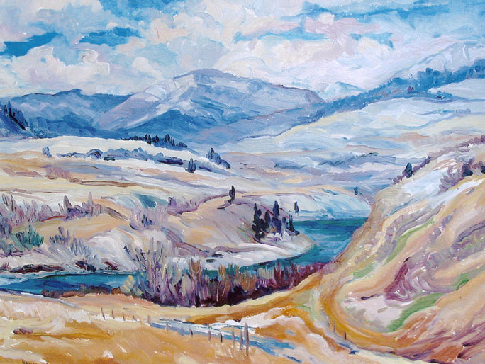 The White House - Snowy landscape painting of Crowsnest Pass by Linda Wadley - www.lindawadley.com