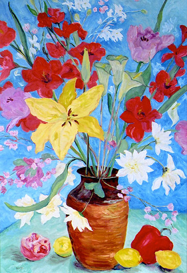 Sweet & Sour - Oil painting still life of flowers by Linda Wadley - www.lindawadley.com