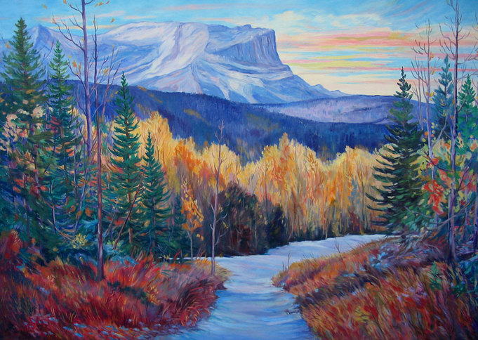Indian Chief - Oil painting of Roche Miette by Jasper by Linda Wadley - www.lindawadley.com