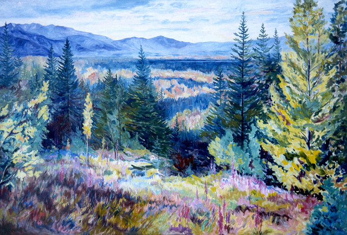Wildhorse Lake - Oil painting of flowers and mountains by Jasper, Alberta by Linda Wadley - www.lindawadley.com
