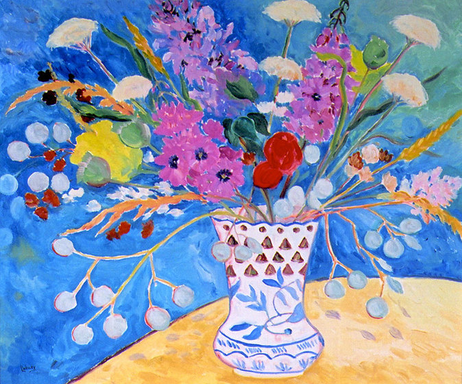 Made In Spain - Oil painting still life of flowers by Linda Wadley - www.lindawadley.com